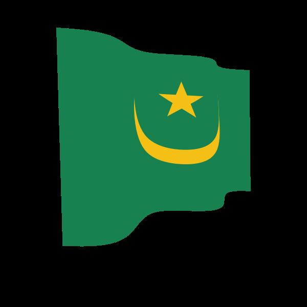Waving flag of Mauritania