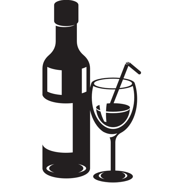 Silhouette of a bottle and drinking glass