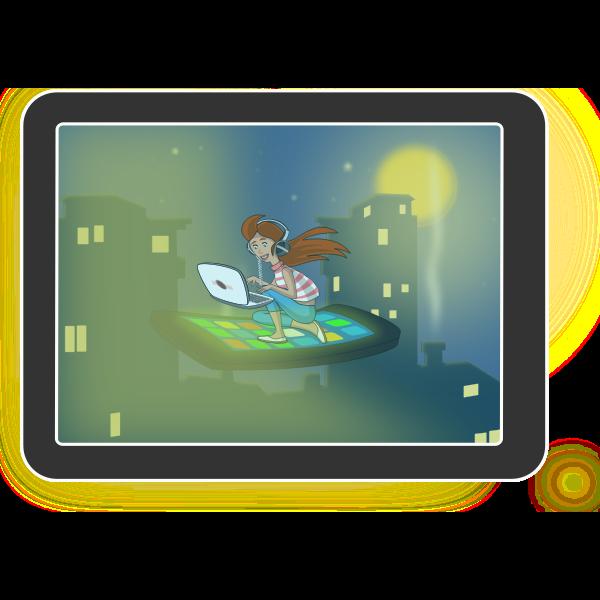 Color tablet computer vector image