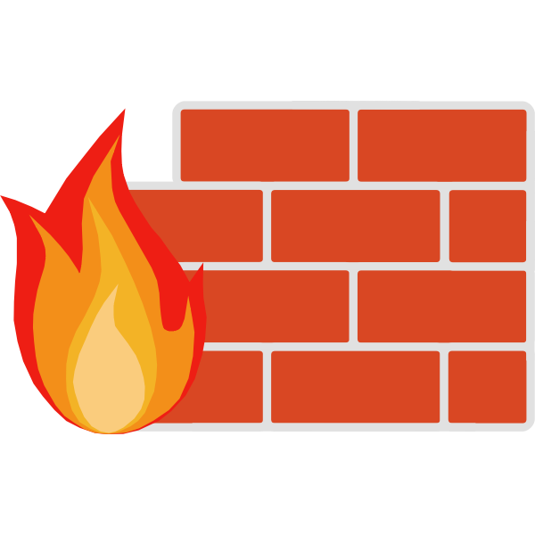 Color vector image of firewall for computer networks
