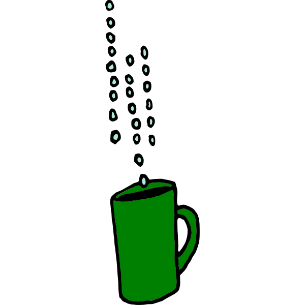 Raindrops falling in a coffee cup