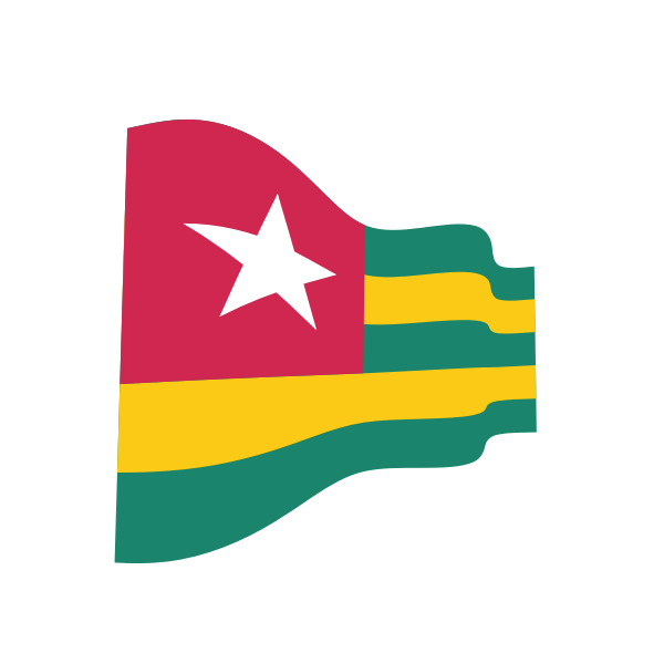 Waving flag of Togo