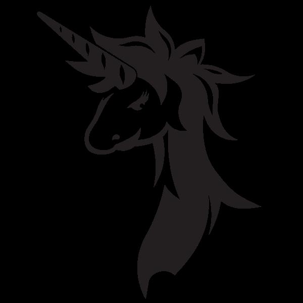 Unicorn silhouette stencil clip art