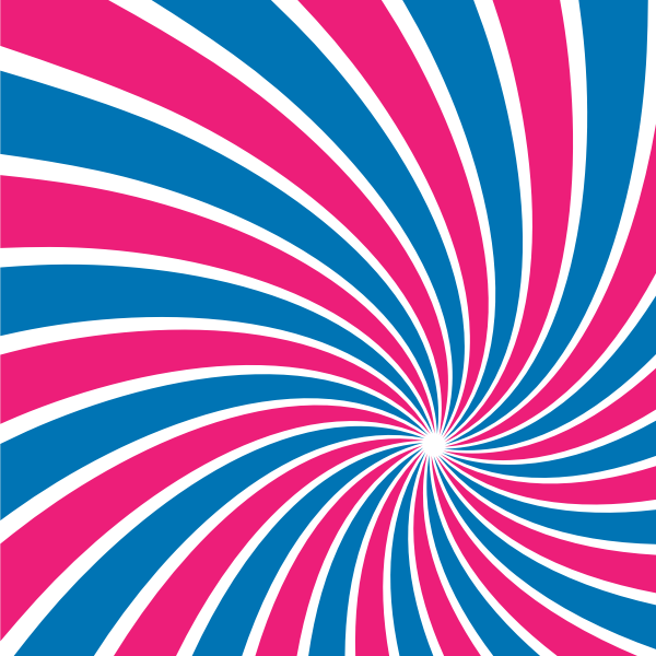 Radial sunbeams blue and pink