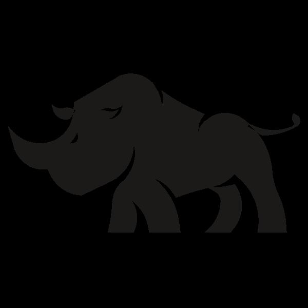 Rhino silhouette cartoon clip art