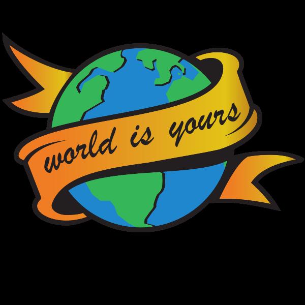 World globe with a ribbon