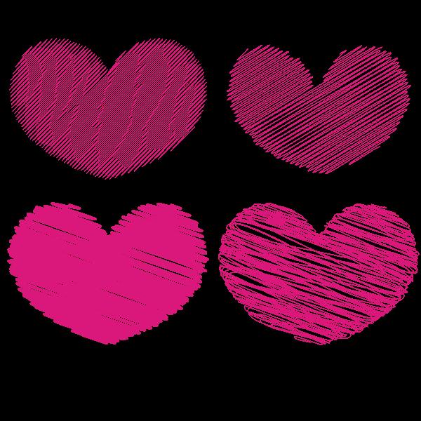 Heart shapes scribble effect