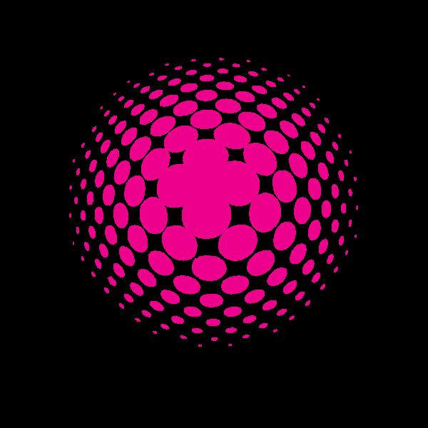 Pink halftone logotype concept