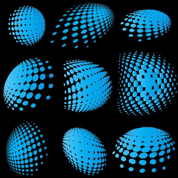Blue halftone shapes vector set
