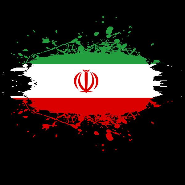 Iranian flag ink spatter