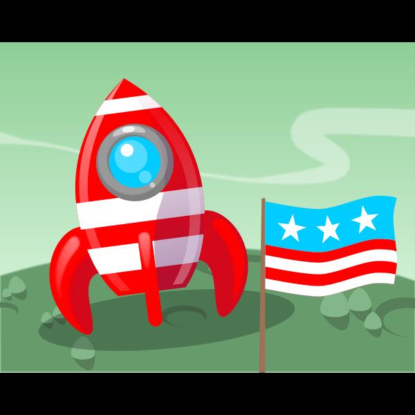 Cartoon rocketship