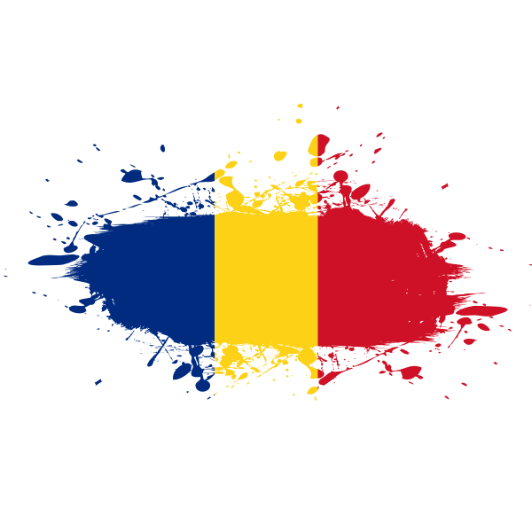 Romanian flag paint spatter
