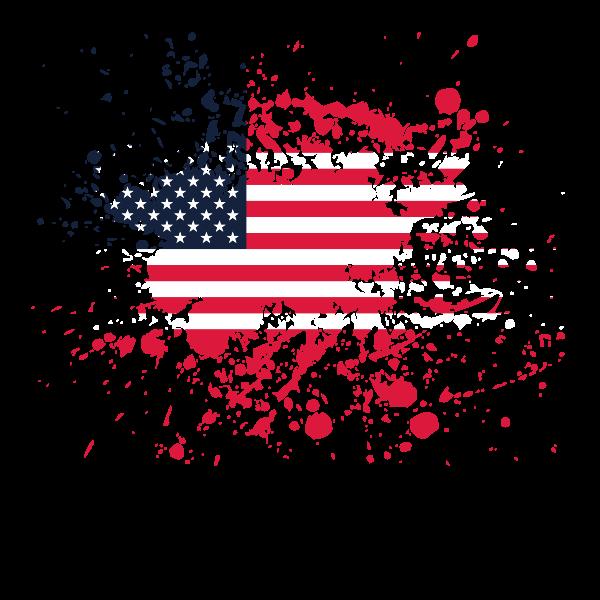 Flag of the USA ink splatter