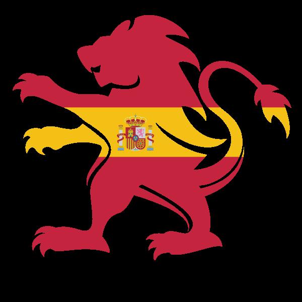 Heraldic lion Spanish flag