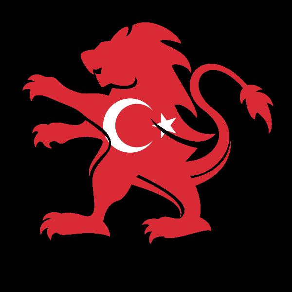 Turkish flag heraldic lion