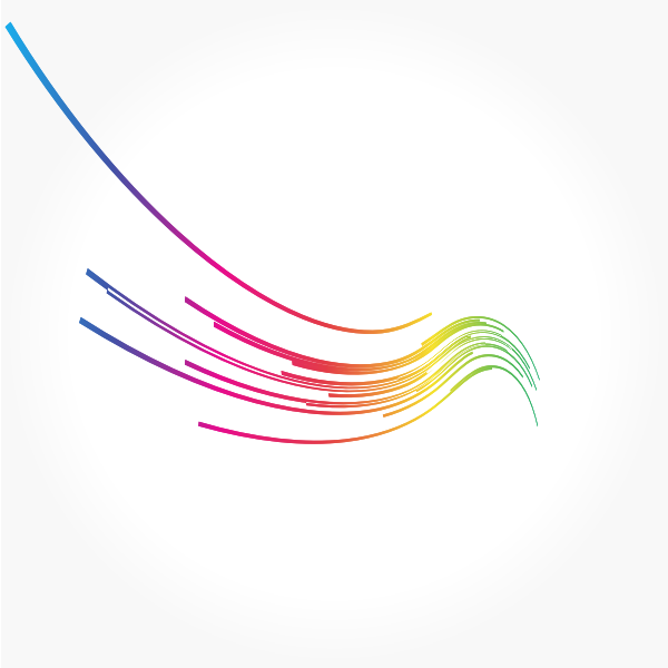 Curved colored lines abstract art