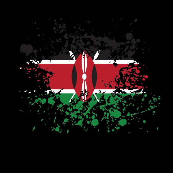 Kenyan flag ink splatter