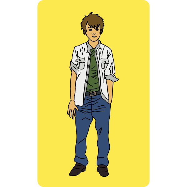 Vector illustration of young man standing in white shirt and blue trousers