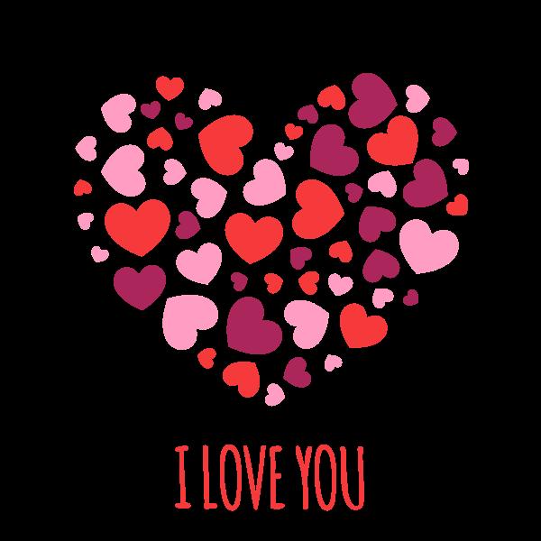 Heart shapes I love you