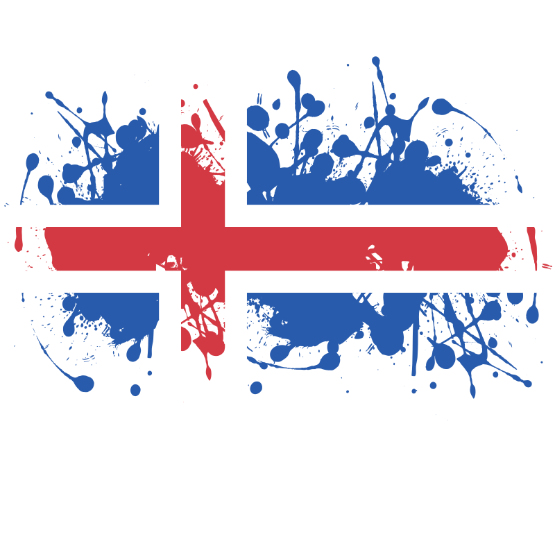 Flag of Iceland with ink splatter