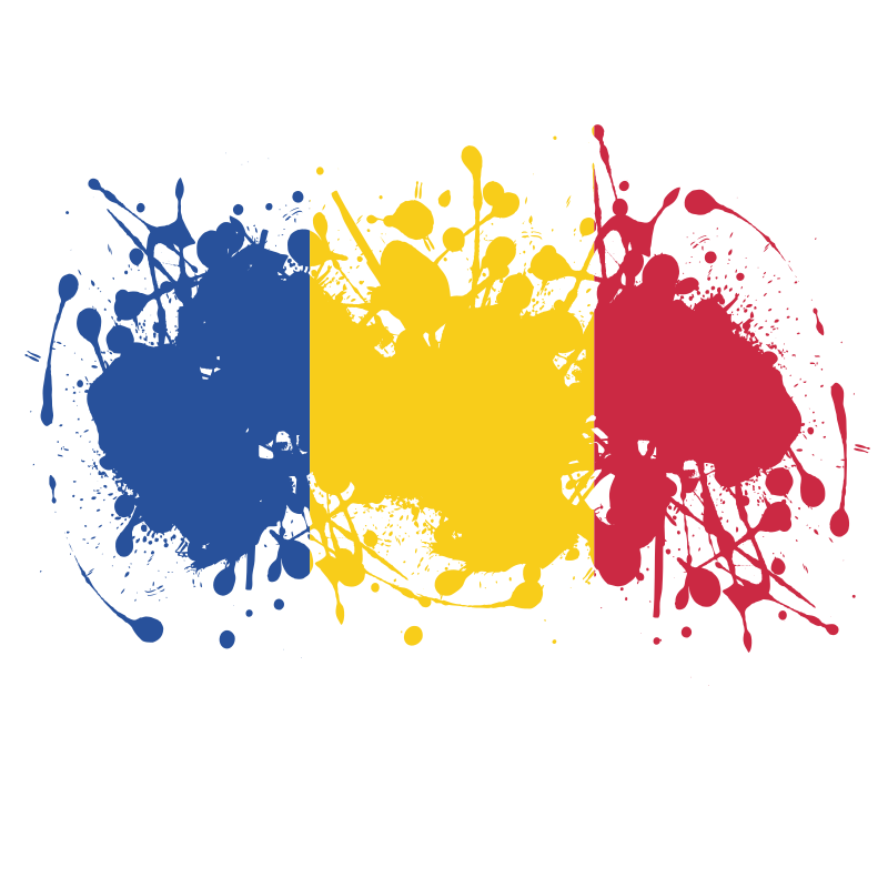 Flag of Romania ink splatter