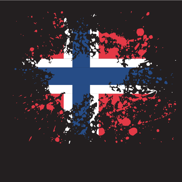 Norwegian flag ink splatter