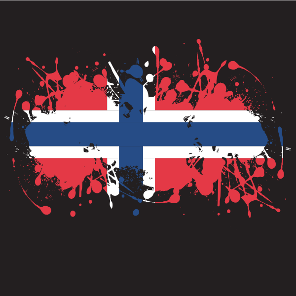 Norwegian flag ink splash