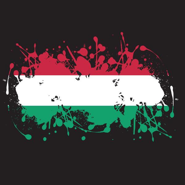 Hungarian flag ink splatter