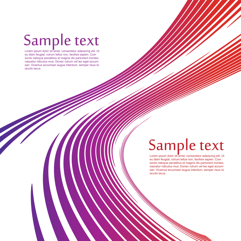 Curved stripes with sample text on white background