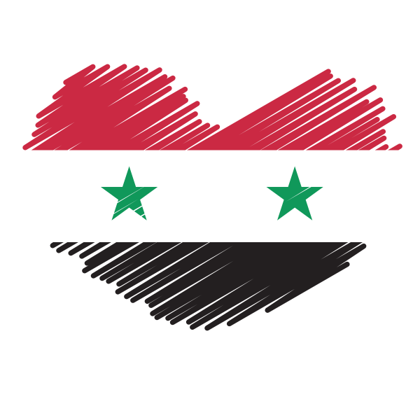 Syrian flag inside a heart shape