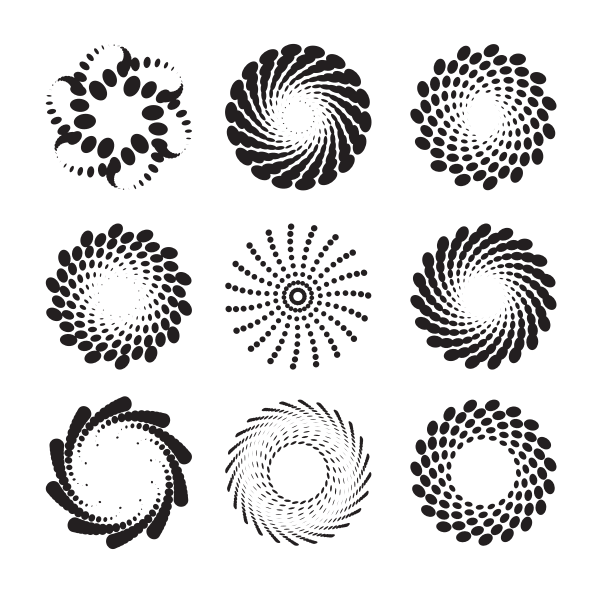 Radial dotted patterns