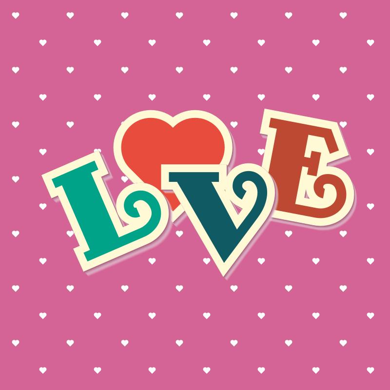 Love color text retro style