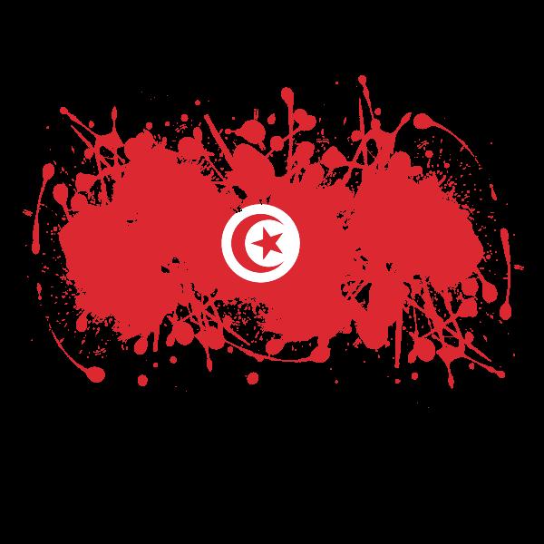 Tunisian flag ink splatter
