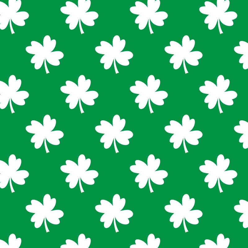 White clover pattern on green background