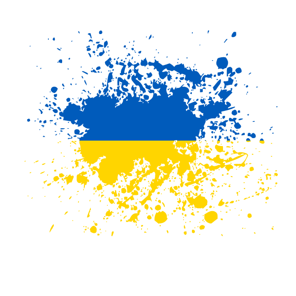 Ukrainian flag ink splatter