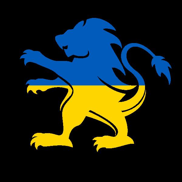Ukrainian flag heraldic lion
