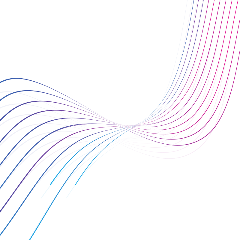 Curved colored lines on white background