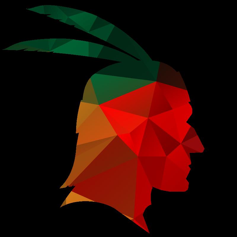 American native chief color silhouette