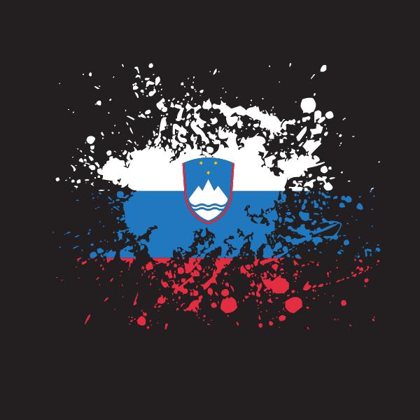 Slovenian flag ink splatter