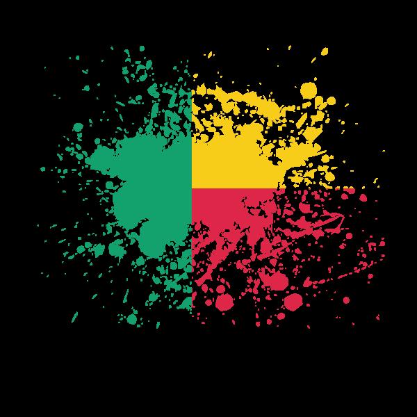 Benin flag ink splatter
