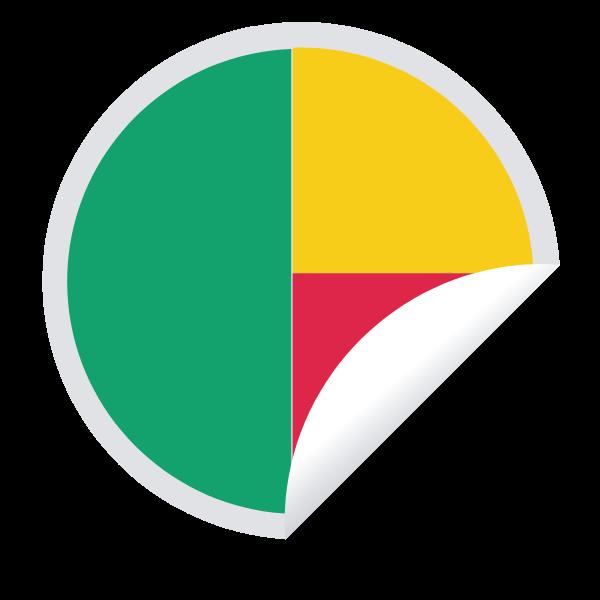 Benin flag peeling sticker (#2)