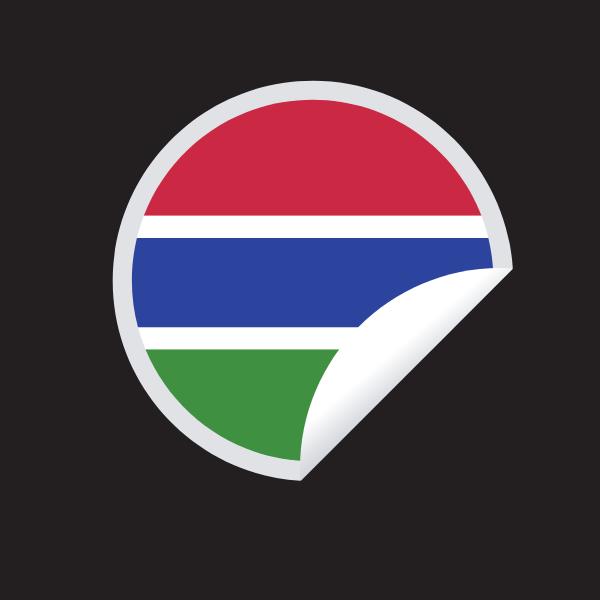 Gambian flag round sticker
