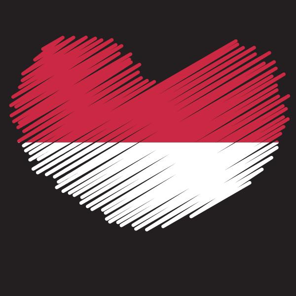 Indonesian flag heart shape