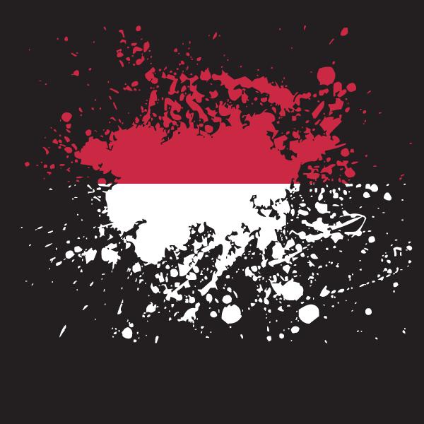 Indonesian flag ink splash