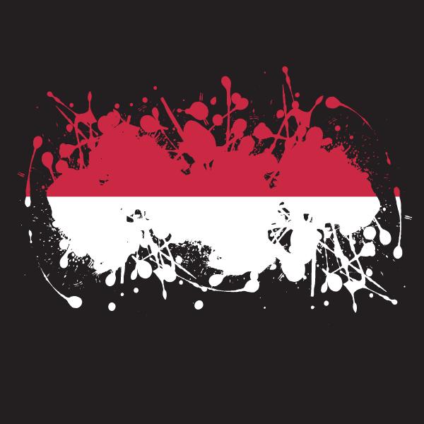 Indonesian flag ink splatter