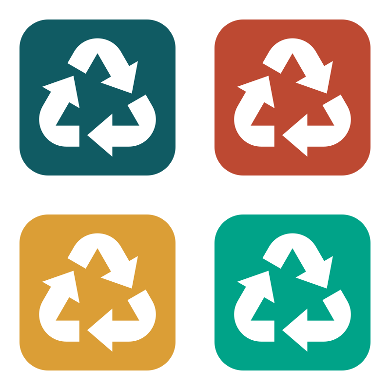 Recycling symbols color stickers