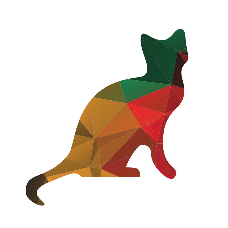Cat low poly pattern