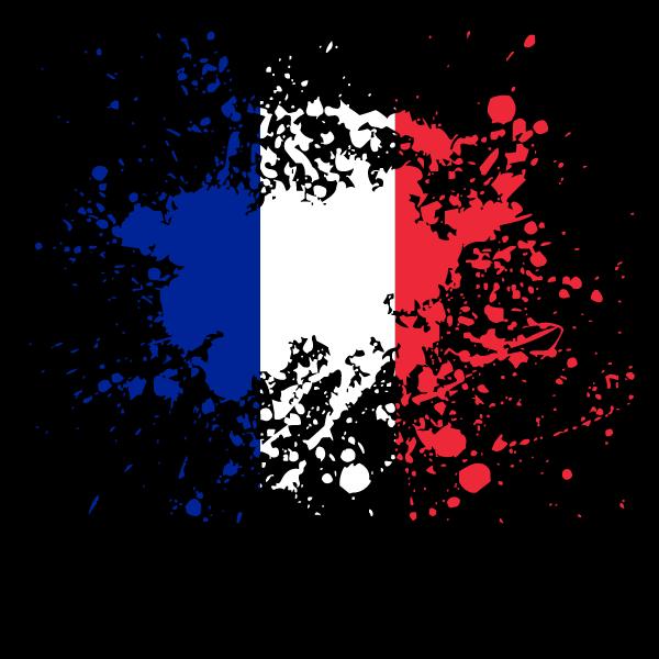 French flag paint splatter