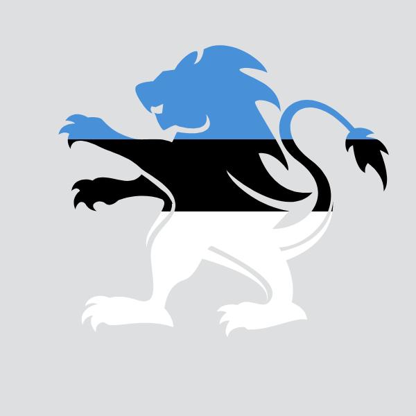 Estonian flag heraldic lion crest