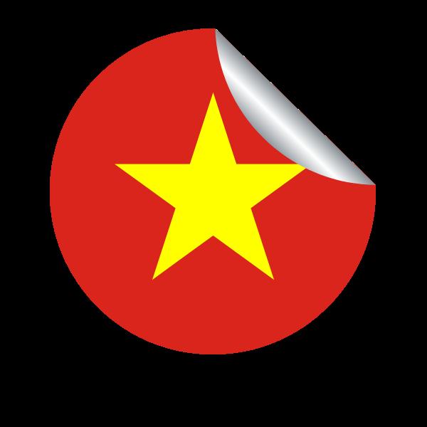 Vietnamese flag in a peeling sticker